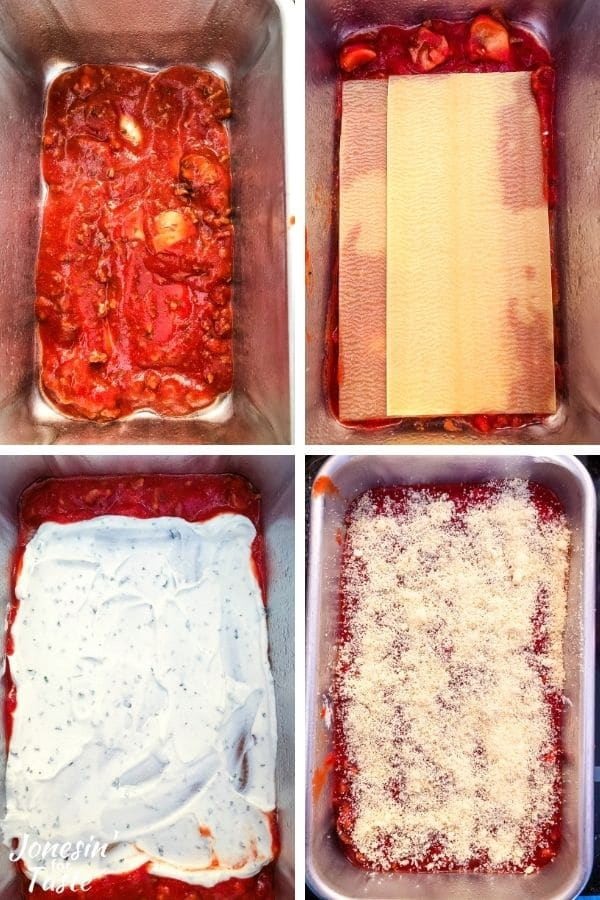 a 4 photo collage showing the steps to layer the lasagna