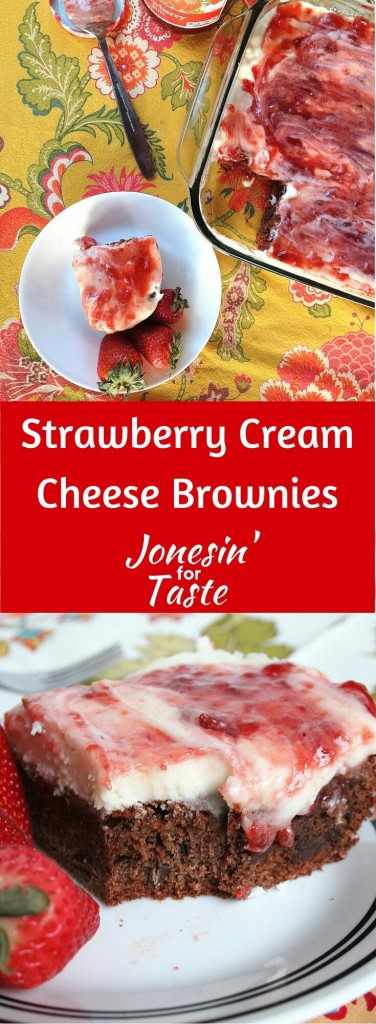 Homemade brownies topped with strawberry jam and cream cheese frosting. There are 25+ more strawberry recipes for this month's Ultimate Recipe Challenge. #URC