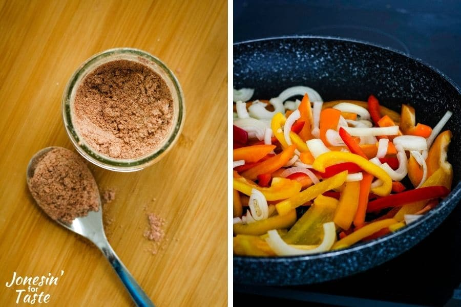 a 2 photo collage, left picture is looking down into the jar of fajita seasoning and the right picture is peppers and onions in a black skillet