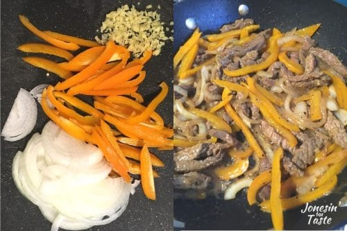 Collage of veggies prepped and a stir fry pan with veggies and meat cooking.