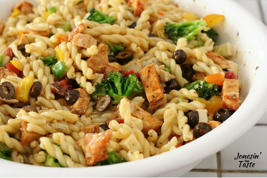 A closeup view of BBQ Chicken Pasta salad
