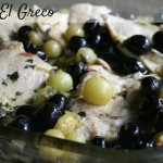 A simple sauce paired with baked olives and grapes and served with chicken and rice for a warm and satisfying dish.