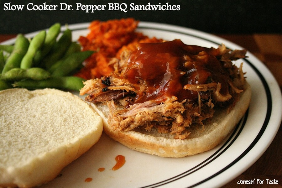 Beef or pork slow cooked in Dr. Pepper is perfectly tender and deliciously topped with a homemade BBQ sauce.