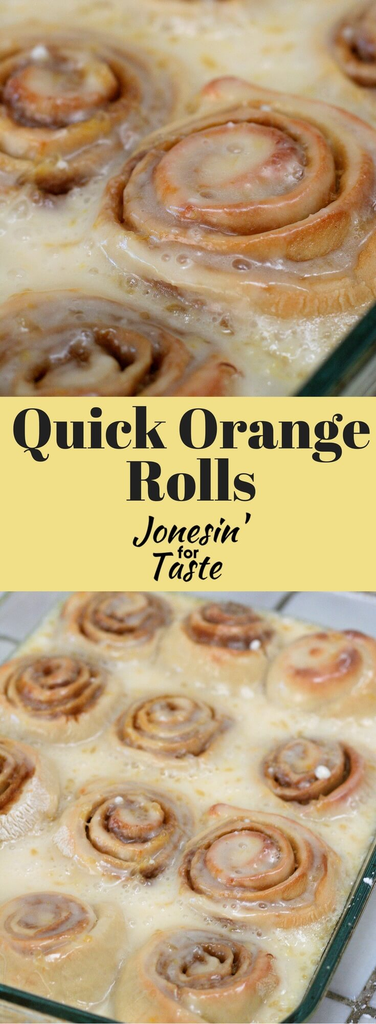 Orange rolls topped with an orange glaze can be made and enjoyed in less than an hour from beginning to end, no yeast required!