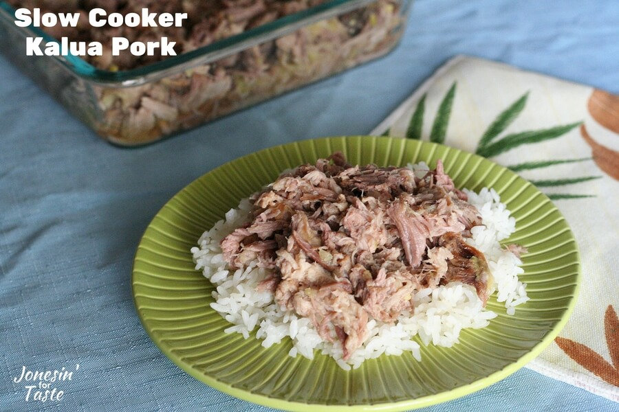 A closeup shot of a plate of Slow Cooker Kalua Pork and white rice