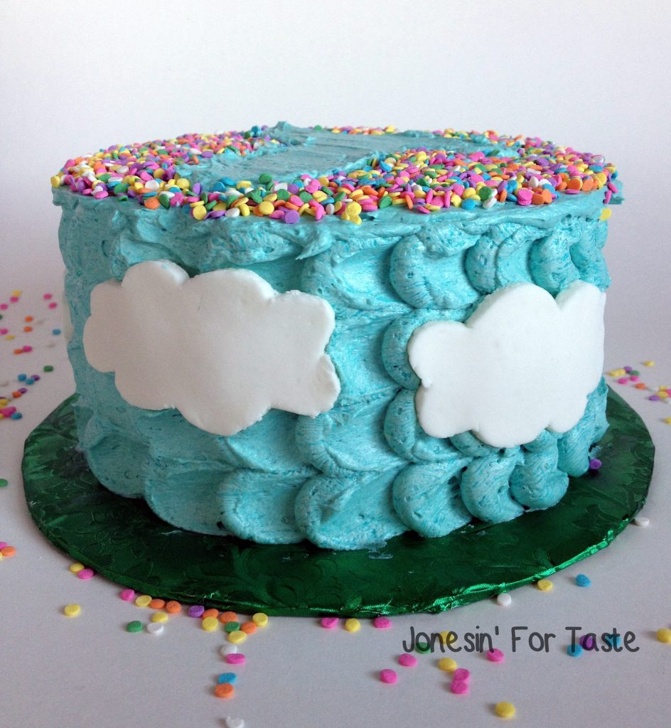 Sprinkle Initial Cloud Cake with homemade fondant clouds