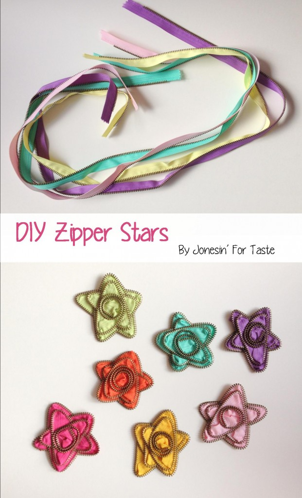Create beautiful star accessories from colorful zippers. Great for recycling those old zippers!