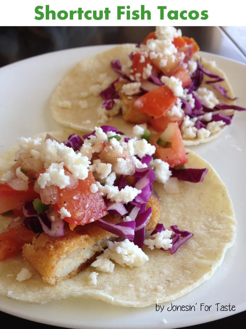 Semi-homemade fish tacos made using frozen breaded fish fillets topped with peach salsa for a quick and easy dinner.