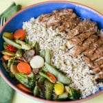 Peanut Sauce Chicken with Rice and Veggie Bowl