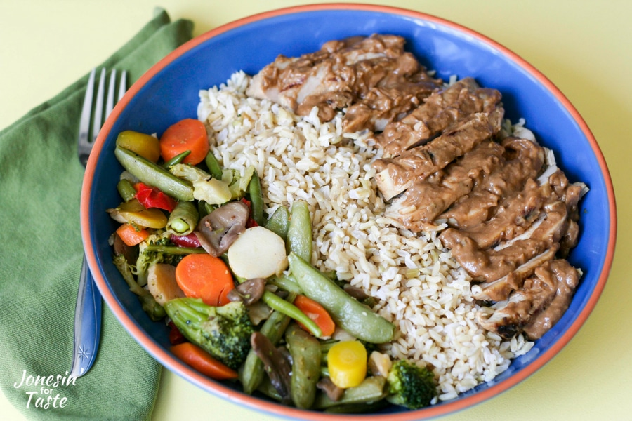 Thai Style Peanut Sauce Chicken with Rice and Veggie Bowl