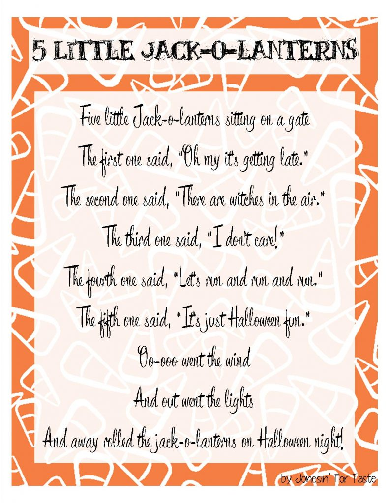 Five Little Jack o lanterns- A fun little Halloween poem with free kids coloring page.- Jonesin' For Taste