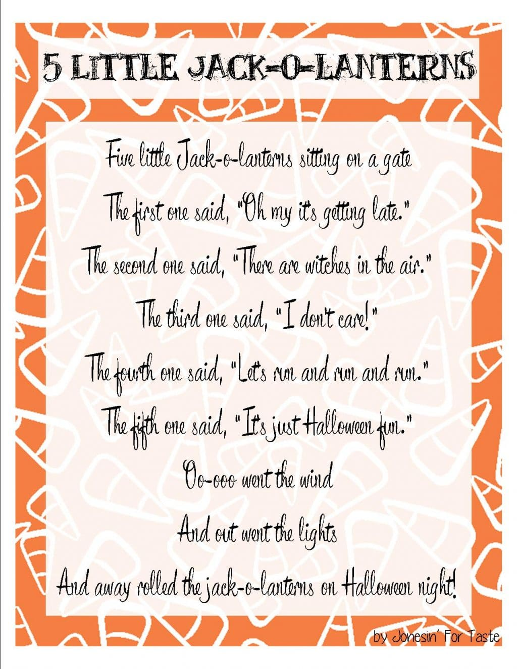 Five Little Jack-o-lanterns Halloween Printable