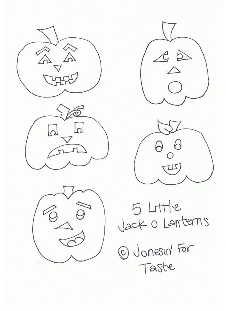 Five Little Jack o lanterns- A fun little Halloween poem with free kids coloring page.- Jonesin' For Taste