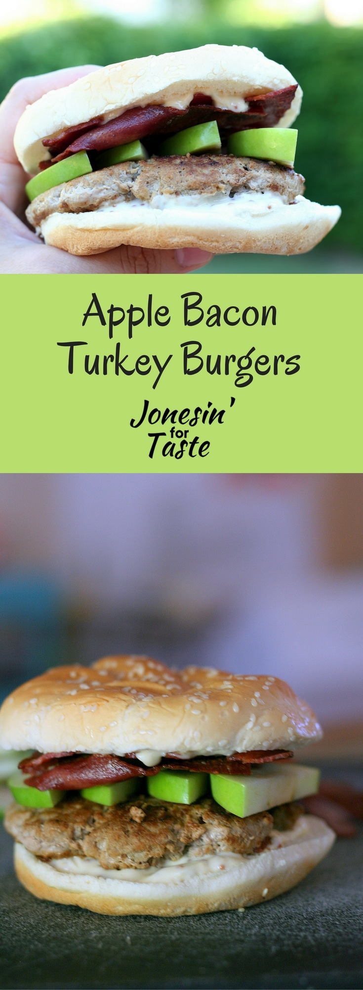 Apple Bacon Turkey burgers are a lighter option made with ground turkey and topped with turkey bacon, green apple slices, and a honey mustard spread. #apples #burgers