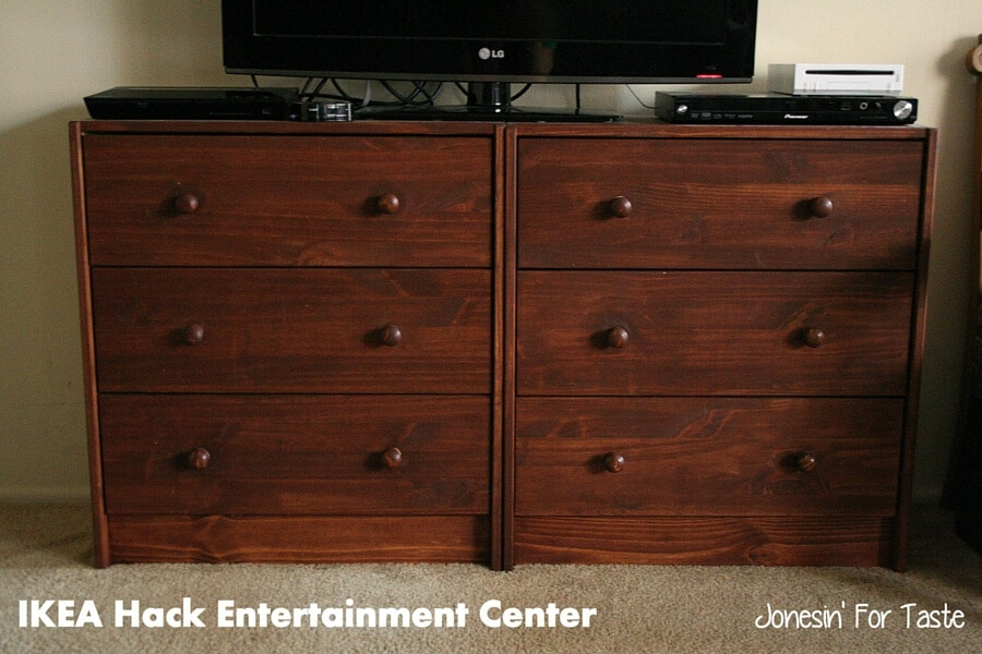 Two $35 IKEA dressers transformed into a functional entertainment center for just $80!
