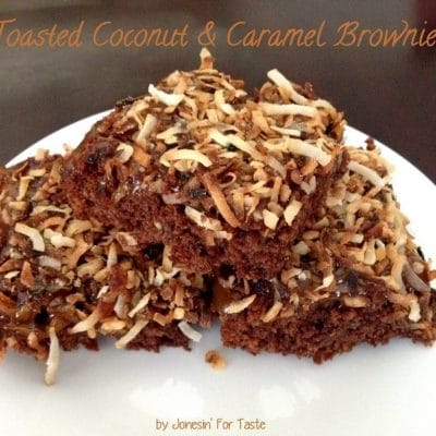 A quick dessert to impress- dress up brownies with toasted coconut and caramel sauce.
