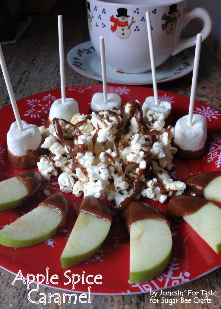 Easy microwave apple spice caramel, a perfect pairing to dip marshmallows, crackers, popcorn, and apples.