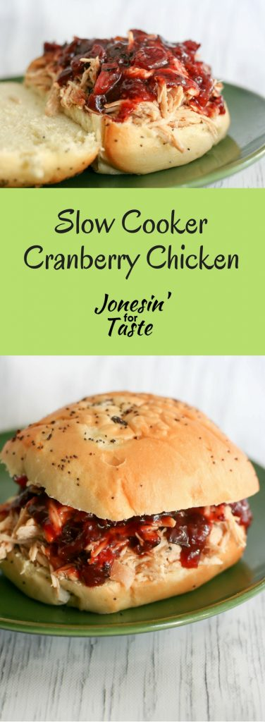 Slow Cooker Cranberry Chicken Sandwiches make for an easy meal with a quick cooking semi homemade whole berry cranberry BBQ sauce.
