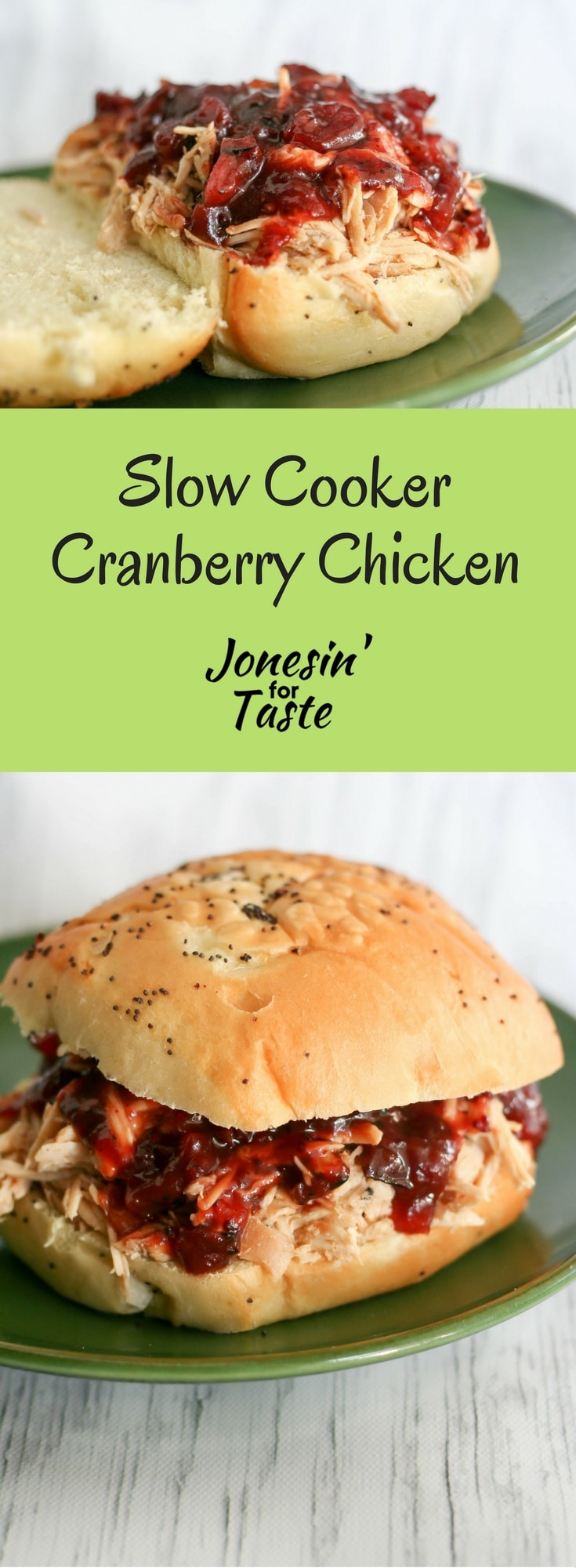 Slow Cooker Cranberry Chicken Sandwiches make for an easy meal with a quick cooking semi homemade whole berry cranberry BBQ sauce. #cranberryweek #slowcookerchicken