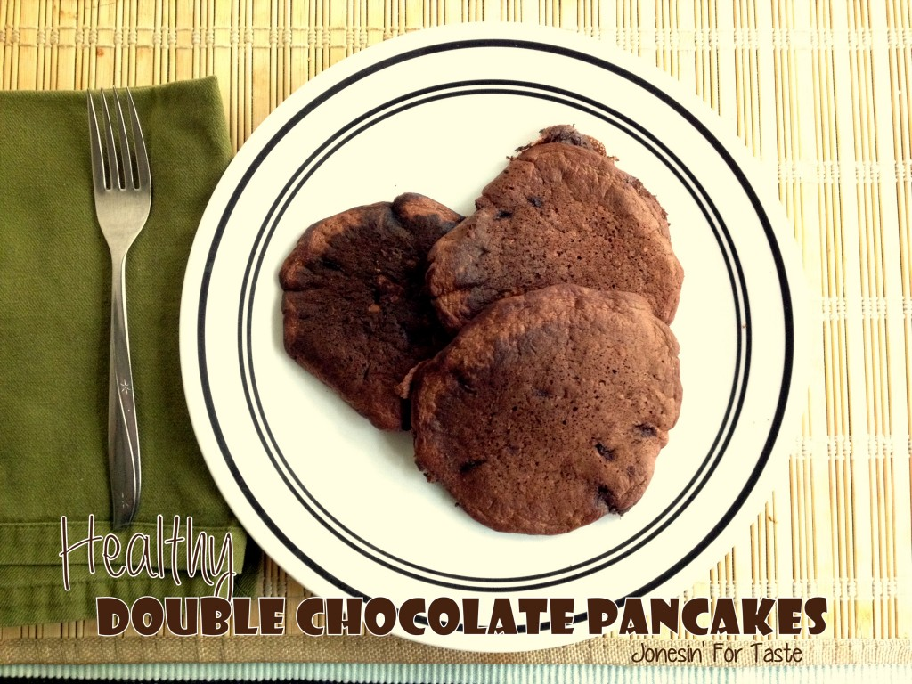 These decadent chocolate pancakes are chock full of yummy chocolate but also packed with good for you nutrients like oatmeal, whole wheat flour, Greek yogurt, egg whites, and just a little bit of sugar to sweeten it up.