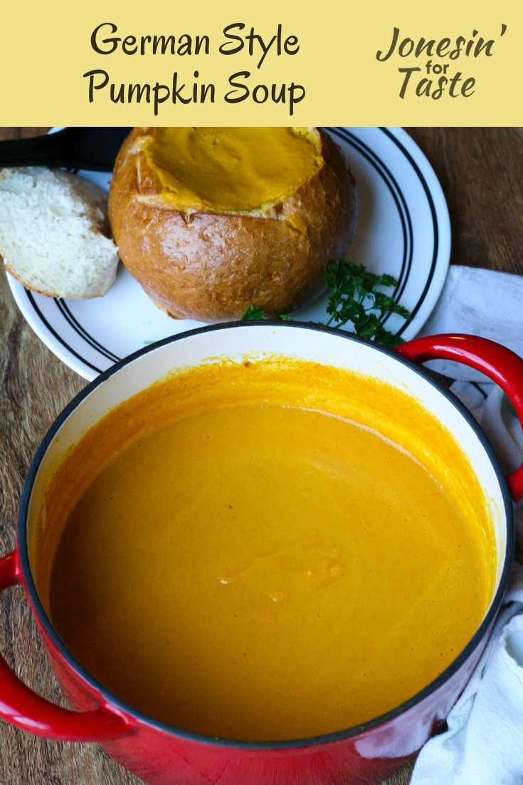 Made with canned pumpkin and veggies this rich German style pumpkin soup comes together quickly in just 30 minutes for a comforting winter soup. #jonesinfortaste #pumpkin #soup