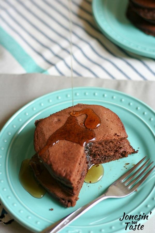 Healthy-ish Blender Double Chocolate Pancakes (IHOP Copycat)