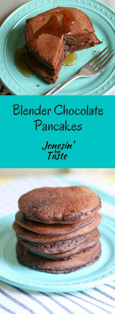 These Healthy-ish Blender Chocolate Pancakes are a sweet treat for breakfast that you don't have to feel guilty about!