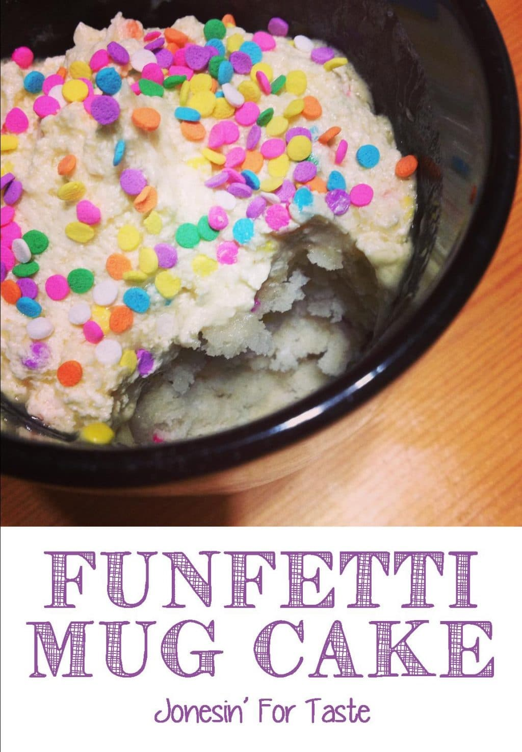 For those times when you only want just a little bit. Funfetti Cake in A Mug with buttercream frosting