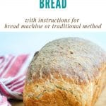 A collage with text graphic of the recipe name on top and a picture of a baked loaf on the bottom