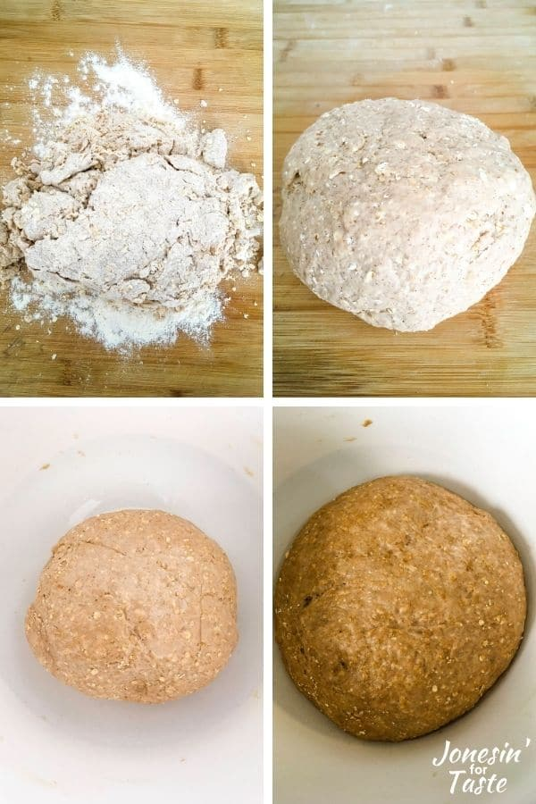 collage showing steps to forming the dough ball for proving
