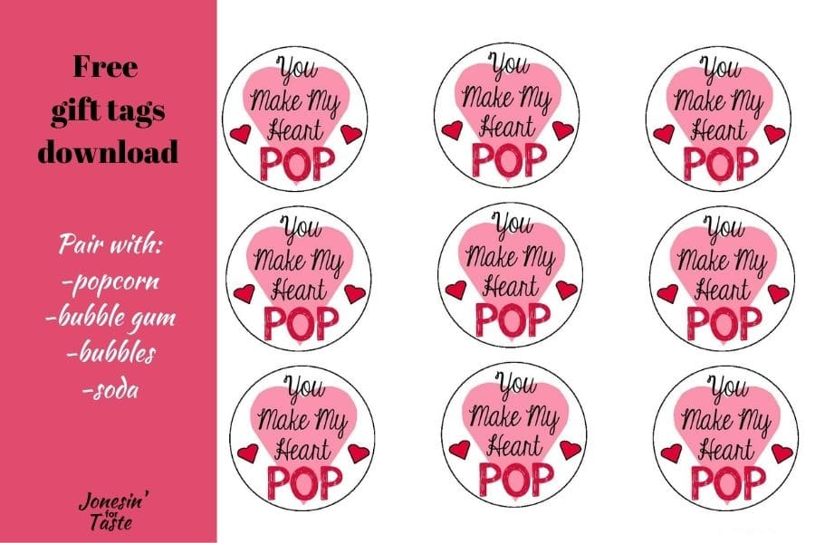 text collage with a picture of the you make my heart pop gift tags
