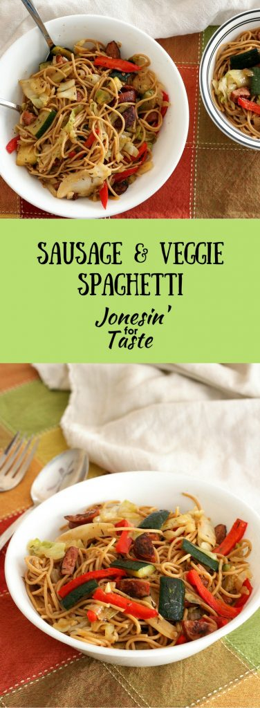 Chock full of veggies and ready in just 30 minutes, Sausage & Veggie Spaghetti is a perfect hearty dish that may just get a picky eater to eat their veggies!