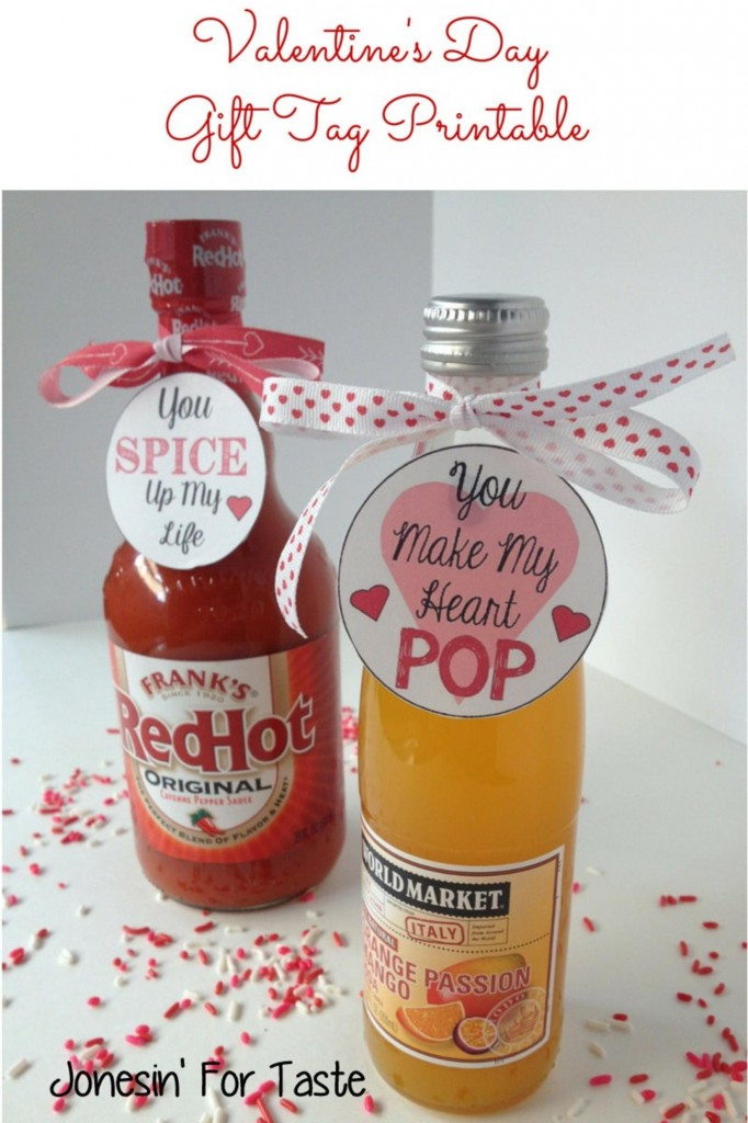 Valentine's Day Gift Tag Printables- You Make My Heart Pop & You Spice Up My Life, just add hot sauce and soda