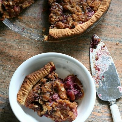 Sour Cream Apple Triple Berry Pie with Oatmeal Crumble Topping