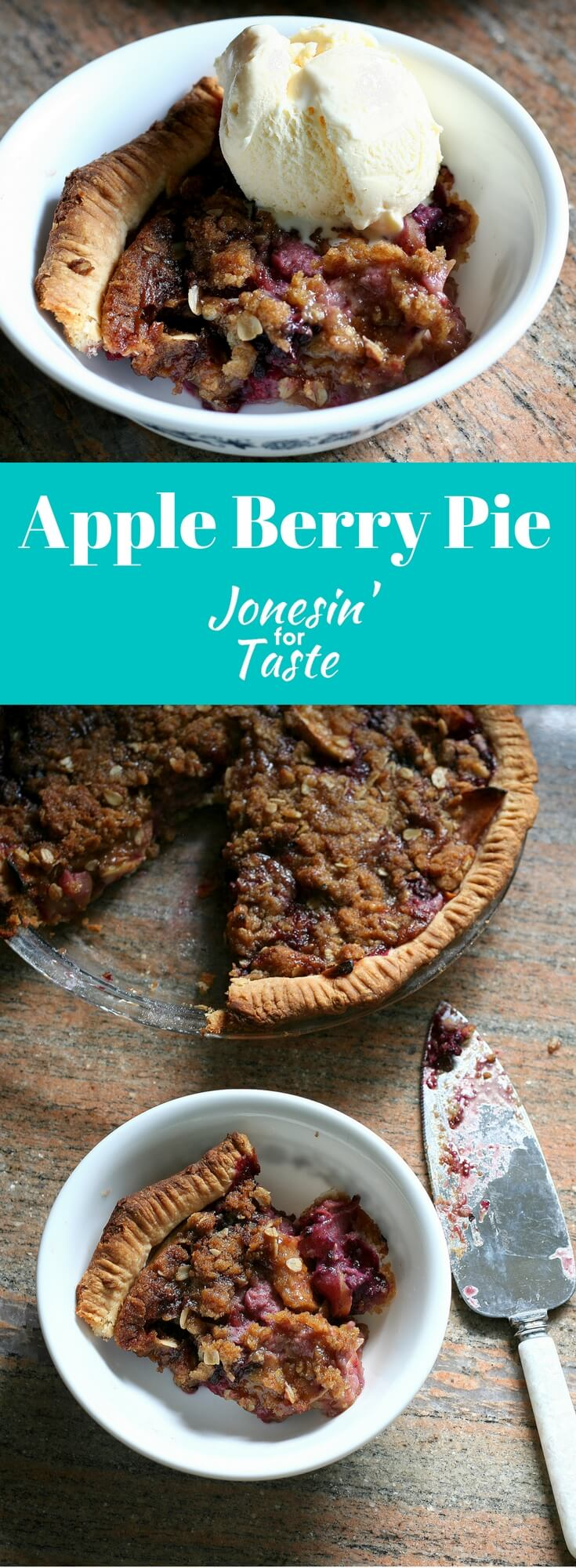 Sour Cream Apple Triple Berry Pie has an oatmeal crumble topping, apples, and frozen berries combined for a flavorful pie perfect for any gathering.