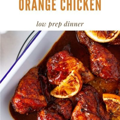 Orange Chicken is easily made at home. Baking the chicken lightens the dish up and the homemade sauce is quickly and easily whipped together.