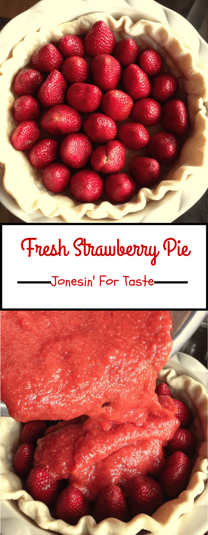 This No Bake Fresh Strawberry Pie is filled with nothing but strawberries with a homemade strawberry sauce- no jell-o needed!