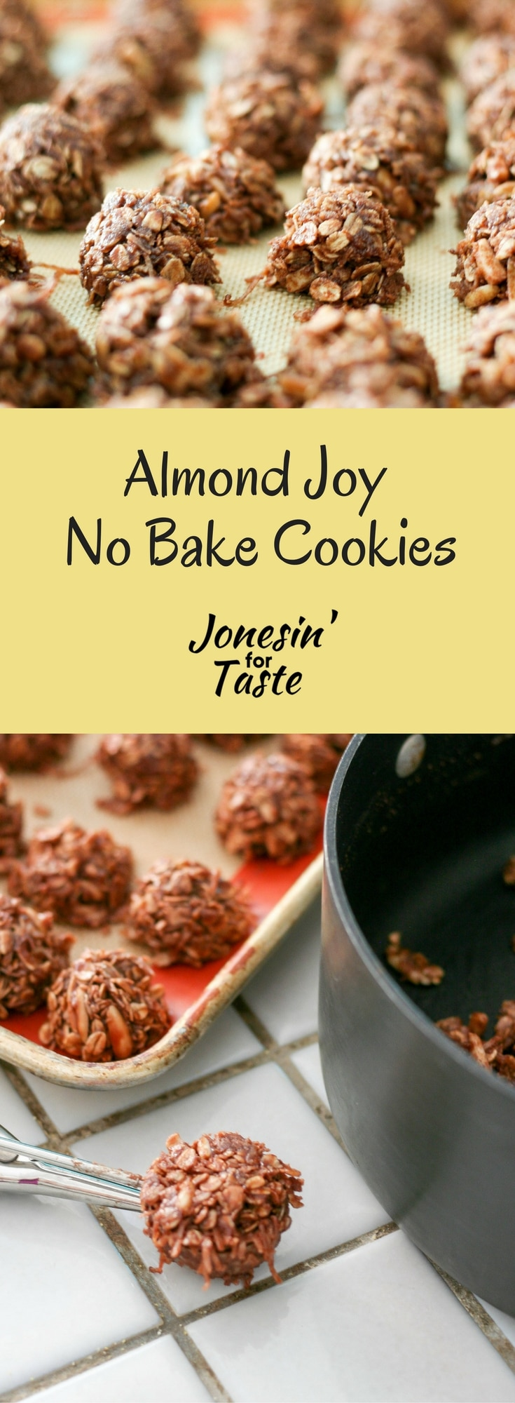 Almond Joy No Bake Cookies with flavors reminiscent of the classic Almond Joy candy bars for a quick and easy cookie for the holidays or a hot summer day. #ChristmasCookies #nobakedesserts
