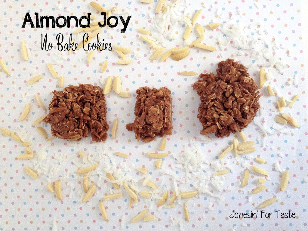 No bake cookies with flavors reminiscent of almond joys- so simple to throw together.