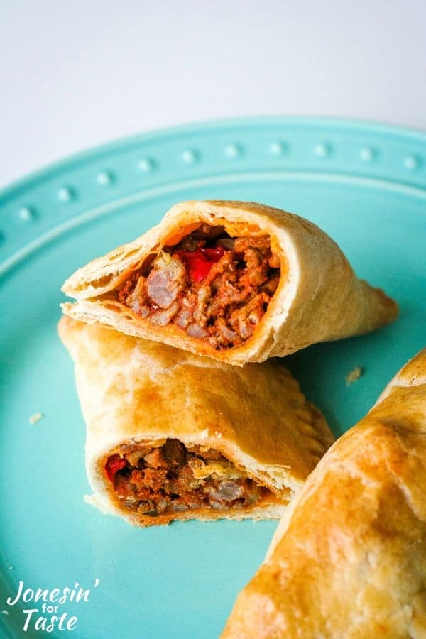 Ground turkey and potato filling in a baked empanada.