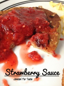 Strawberry sauce as a topping for pancakes.
