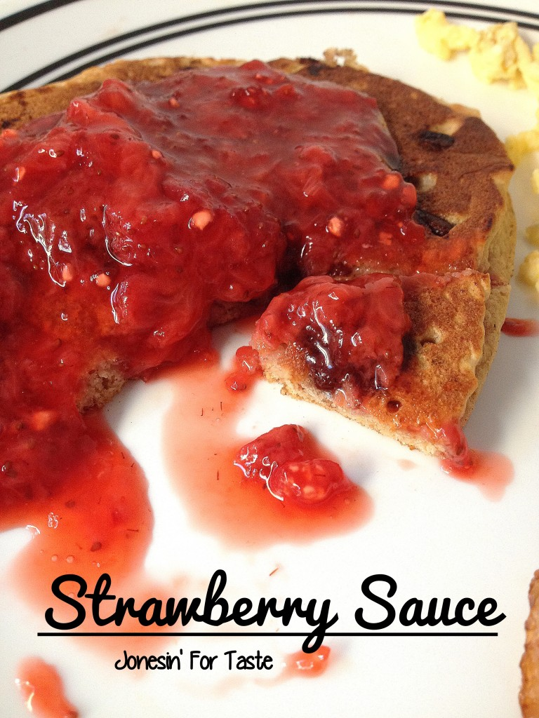Strawberry sauce as a topping for pancakes