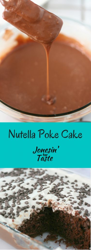 This Nutella Poke Cake dresses up a chocolate cake mix with a nutella glaze, cool whip, and chocolate chips for a cake that is wonderfully moist and flavorful.