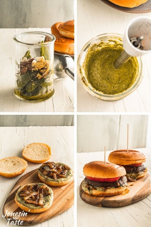 4 photo collage of how to make the pesto mayo and assemble the burgers