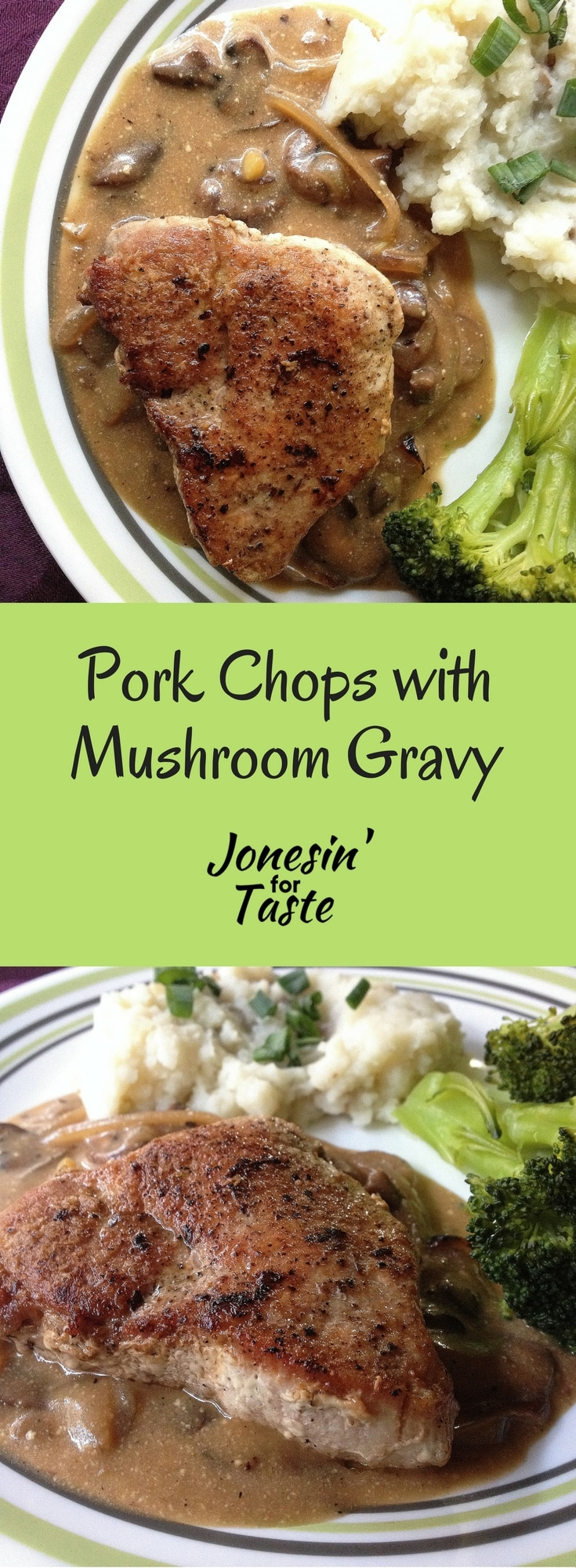 Pork chops with mushroom gravy is an easy comfort food recipe with an easy homemade gravy made with a surprise ingredient, Greek yogurt. #maindish #porkchops #30minutemeal