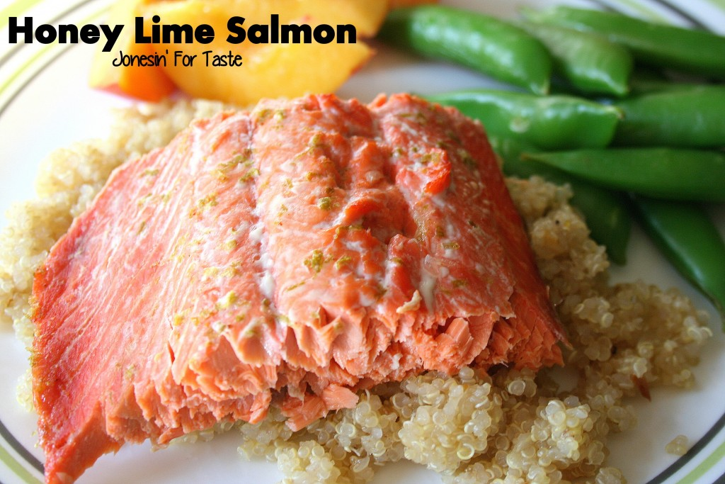 Honey Lime Salmon is a great option for an easy weeknight dinner.  Pair with quinoa and sugar snap peas for a healthy rounded meal.