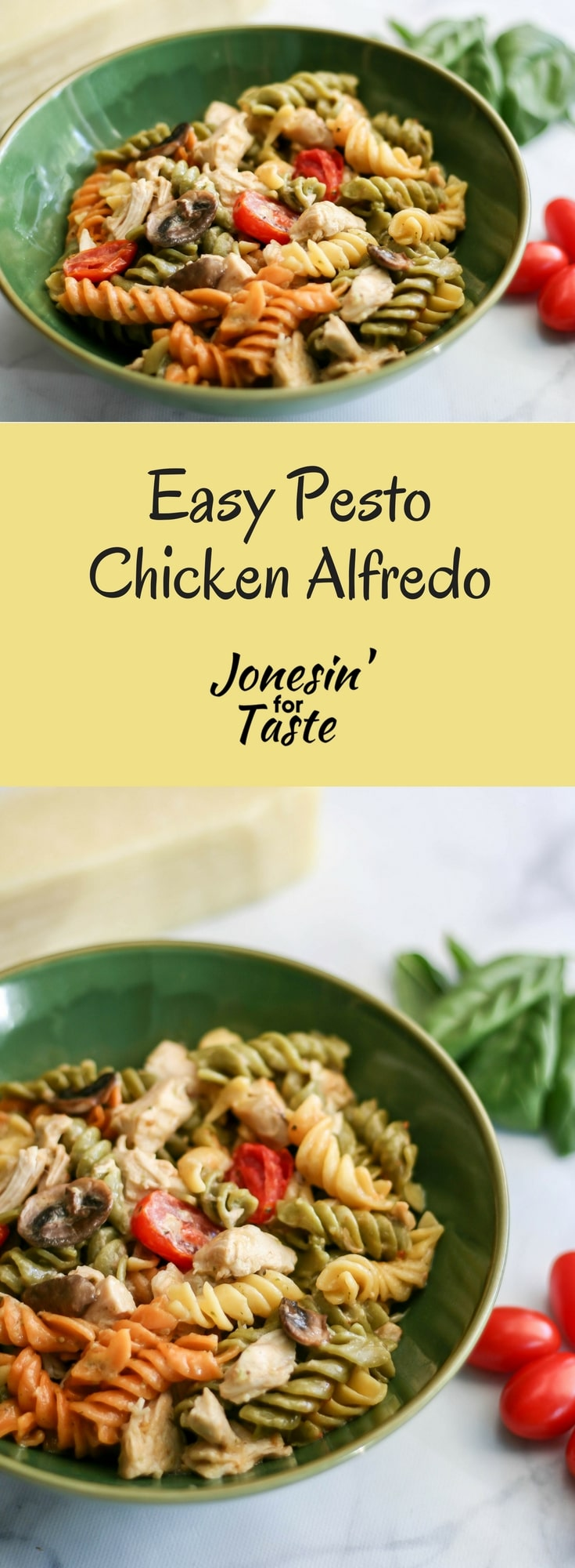 Easy Pesto Chicken Alfredo uses rotisserie chicken combined with pesto and alfredo sauce for a quick dinner packed with lots of flavor. #jonesinfortaste #easypastarecipes #pestopasta