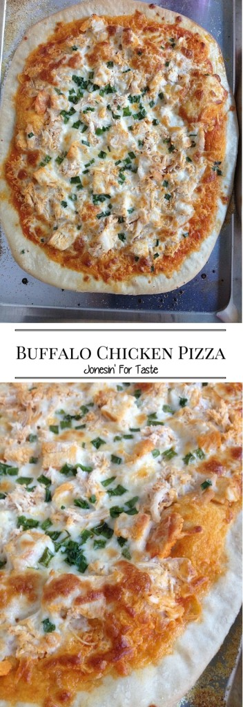 Spice up the usual pizza night with Buffalo Chicken Pizza. A spicy sauce, topped with chicken and gooey cheese comes together for homemade pizza bliss.