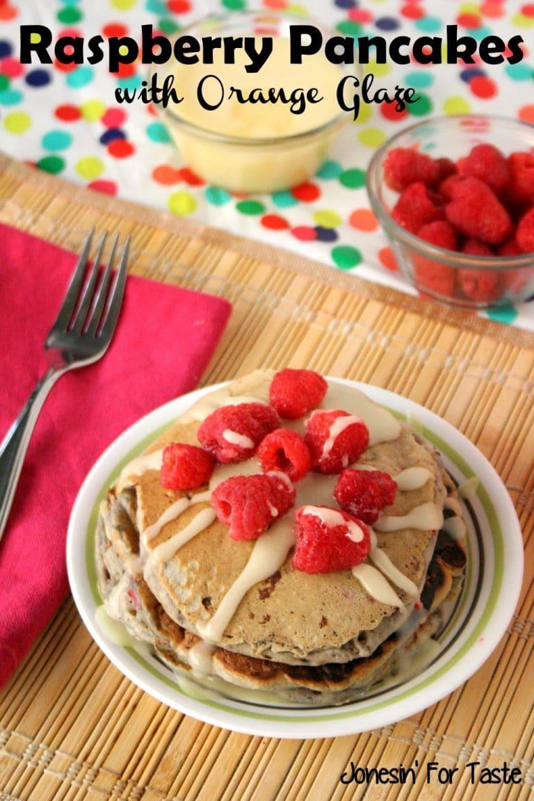 Raspberry Pancakes with Orange Glaze