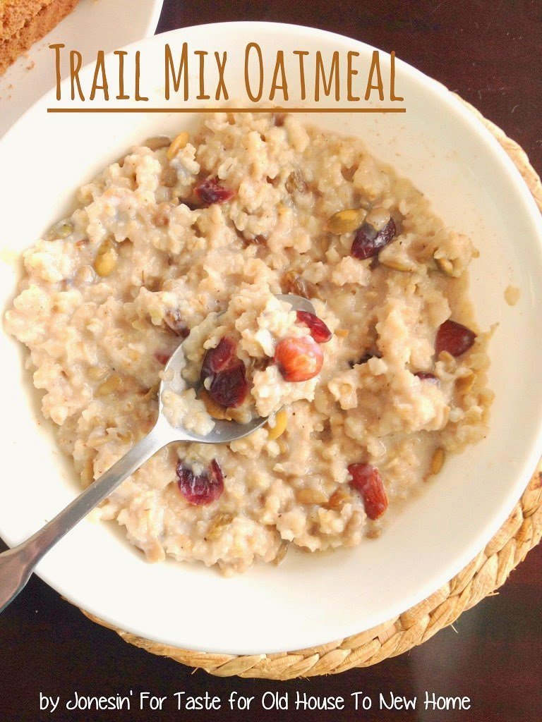 Trail mix oatmeal is a fun twist on the old breakfast staple. A terrific blend of nuttiness, sweet fruits, and hearty oatmeal.